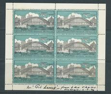 Australia 1935 Narromine Wasp Plane Over Harbour Bridge Vignette Sheet Of 6 MNH Signed Ern Crome - Cinderellas
