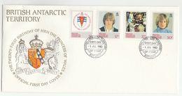 1982 BRITISH ANTARCTIC TERRITORY  FDC Stamps PRINCESS DIANA BIRTHDAY Heraldic Lion Cover Royalty BAT - FDC