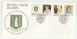 1982 BRITISH VIRGIN ISLANDS  FDC Stamps PRINCESS DIANA BIRTHDAY OIL LAMP Cover Royalty  Heraldic Energy Minerals - British Virgin Islands