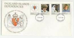 1982 FALKLAND ISLANDS DEPENDENCIES FDC Stamps PRINCESS DIANA BIRTHDAY  Cover Royalty Heraldic Lion Falklands - Falkland Islands