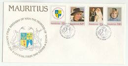 1982 MAURITIUS  FDC Stamps PRINCESS DIANA BIRTHDAY  Cover Royalty Heraldic Dodo Bird Tree - Mauritius (1968-...)