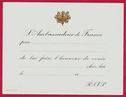 """Carton D'Invitation De L' AMBASSADEUR De FRANCE """"chez Lui"""" Gravé Par STERN à PARIS ** Métier Graveur - Unclassified"""