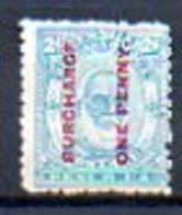 OCEANIE - TONGA - (Protetorat Britannique) - 1894-95 - N° 25 - ONE PENNY S. 2 P. Bleu Clair - (Georges 1er) - Samoa