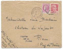 ENVELOPPE / POSTE AUX ARMEES 1947 / MARIANNE DE GANDON & CERES DE MAZELIN / POUR RIOM PUY DE DOME - Marcophilie (Lettres)