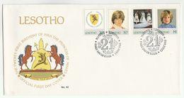 1982 LESOTHO FDC Stamps PRINCESS DIANA BIRTHDAY CROCODILE Cover  Heraldic  Horse - Royalties, Royals