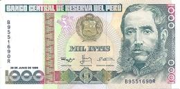 N 1 BANCONOTA  Da  1000 Intis   -  PERU'  -  Anno1988. - Perù