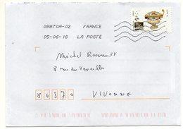 """2018--tp Adhésif  Du Carnet  """" Arts De La Table """"-- Coupe De Nevers -- Seul Sur Lettre - Marcophilie (Lettres)"""