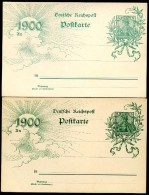 DR  P 43 II  Bbd  2 Postkarten  Farbvarianten **  1899  Kat. 5,00 € - Ganzsachen