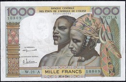 """West African 1000 Francs 1961 Ivory Coast """"First Signature"""" XF+ Banknote - West African States"""