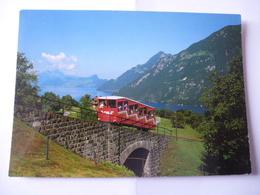 SUISSE (Canton D'URI) Treib-Seelisberg-Bahn : Funicullaire Voie 1 M - Lac Des Quatre-Cantons Et Le Village Seelisberg - Trains