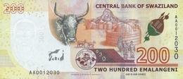 SWAZILAND P. NEW 200 E 2017 UNC - Swaziland