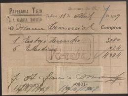 Fatura - Invoice Portugal - Lisboa 1919 - Papelaria Tejo - Vinheta Imposto Selo - Advertising - Portugal