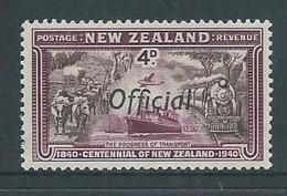 New Zealand 1940 4d Transport Official Overprint MLH - Officials