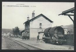 PAS DE CHEQUE REPRODUCTION   Champagnac Les Mines  15 Cantal Train Gare Station - Otros Municipios