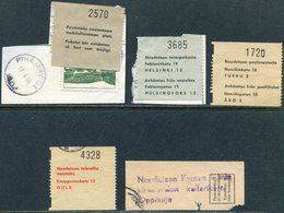 Finland 1960's 4 Parcel Labels + 1 Cutout Paket Colis Postal Finnland Finlande Suomi - Finland