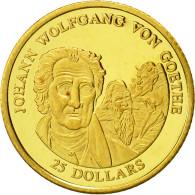 Liberia, 25 Dollars, Johann Wolfgang Goethe, 2001, FDC, Or - Liberia