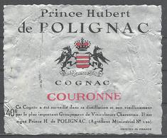 France, Prince Hubert De Polignac, Cognac Couronne ,  '70s - Labels
