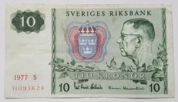 BILLET SUEDE - P.52d - 10 KRONOR - 1977 - ROI GUSTAF VI ADOLF - FLOCON DE NEIGE - Suède