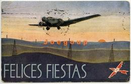 Postal Avion Aeroposta Felices Fiestas Aeropostal Argentina 1938 Matasello Bahia Blanca - Argentina