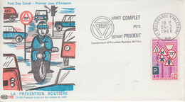 Enveloppe  FDC   Flamme   Du   1er   Jour    PREVENTION  ROUTIERE     BELLEGARDE  SUR  VALSERINE  1968 - 1960-1969