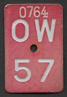 Velonummer Obwalden OW 57 - Plaques D'immatriculation