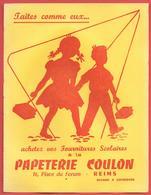 Buvard Années 50 - PAPETERIE COULON  Place Forum à REIMS (Marne) - FOURNITURES SCOLAIRES -  Illustration 2 Enfants - Stationeries (flat Articles)