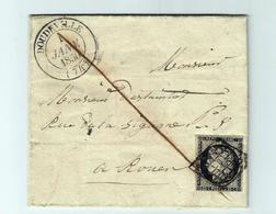 1 Janvier 1850 - DOUDEVILLE - C 14 - Oblit. Grille Sur 20c Noir - Poststempel (Briefe)