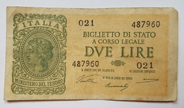 BILLET ITALIE - ROYAUME D'ITALIE - P.30a - 2 LIRES - 23/11/44 - ITALIA - [ 1] …-1946 : Kingdom