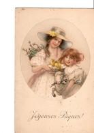 Illustrateur  M. M. VIENNE.  Nr 435.  M. MUNK. Joyeuses Pâques ! Enfants Avec Poussins Et Mouton. Chapeau. - Vienne