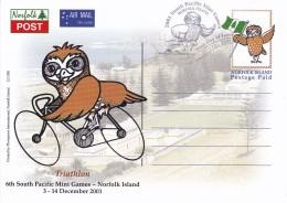 Norfolk Island 2001 Postcard South Pacific Mini Games Triathlon FDC - Ile Norfolk