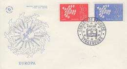Enveloppe  FDC  1er   Jour   FRANCE    Paire   EUROPA    STRASBOURG    1961 - 1960-1969