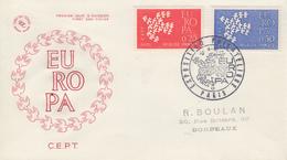 Enveloppe  FDC  1er   Jour   FRANCE    Paire   EUROPA    PARIS   1961 - 1960-1969