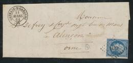 1861 Lettre N°14A 20c Bleu PC 1449 CAD Grenade-S-Garonne HAUTE-GARONNE P576 - 1849-1876: Période Classique