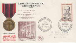 Enveloppe  FDC   FRANCE  1er  Jour  Héros  De  La  Résistance   Paul   GATEAUD     OZOLLES   1961 - 1960-1969