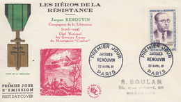 Enveloppe  FDC   FRANCE  1er  Jour  Héros  De  La  Résistance   Jacques  RENOUVIN   1961 - 1960-1969
