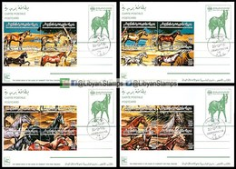 LIBYA - 1996 Horses Chevaux Pferde (4 Special P/stationery Postcards FDC) - Horses