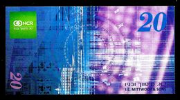 "Test Note ""NCR/Mittwoch & Sons - ISRAEL"", 20 Shekel, TYP A,  RRRR, UNC, 138 X 71 Mm - Israel"