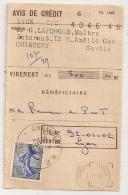 SEMEUSE De PIEL 0.30 SEULE Sur AVIS DE CREDIT CHAMBERY R.P. Savoie Pour Chéques Postaux LYON.PEU COMMUN. - Marcophilie (Lettres)