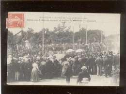 25 Besançon Les Fêtes Des 14 15 16 Août 1909 Défilé Des Vétérans Devant La Statue Du Gl Jeanningros Pas D'éditeur - Besancon