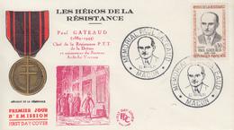 Enveloppe  FDC   FRANCE  1er  Jour  Héros  De  La  Résistance   Paul   GATEAUD     MACON   1961 - 1960-1969