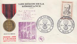 Enveloppe  FDC   FRANCE  1er  Jour  Héros  De  La  Résistance   Paul   GATEAUD     PARIS   1961 - 1960-1969