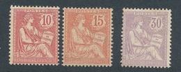 """CB-65:FRANCE: Lot """"MOUCHON""""  Avec N°124*(pli)-125*-128*GNO (mini Pts De Rouille) - 1900-02 Mouchon"""