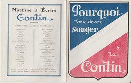 Publicité Machine à écrire Contin Ets Continsouza Usine De Belleville Paris14x11cms - Publicités