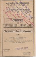 ROYAUME De BELGIQUE - CARTE De TRAVAILLEUR FRONTALIER - HERSEAUX Le 9 Octobre 1947 - France / Belgique - A Voir ! - Documents Historiques