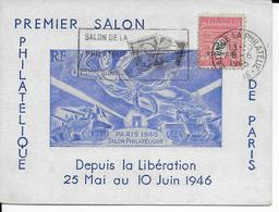 MECA : SALON DE LA PHILATELIE - 1946 - CARTE COMMEMORATIVE DU 1° SALON DEPUIS LA LIBERATION - Marcophilie (Lettres)
