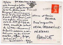 """Griffe Linéaire""""08-Charleville-Mézières RP """" Sur Tp Grande-Bretagne Elisabeth II  Le Tout Sur Carte Postale YORK - Marcophilie (Lettres)"""