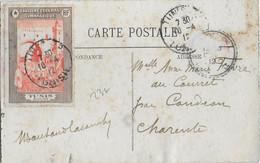 VIGNETTE CONCOURS GYMNASTIQUE De TUNISIE - 1912 - CARTE De TUNIS Avec AFFRANCHISSEMENT AU DOS => CHARENTE - Commemorative Labels