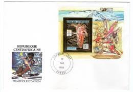 J.O Albertville 92 - FDC  : CENTRAFRIQUE  - Bloc OR  N°491 Non Dentelé -  Patinage Artistique - Winter 1992: Albertville