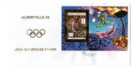 J.O Albertville 92 - FDC  : CONGO  - Bloc OR  N°67  NON  Dentelé - - Winter 1992: Albertville