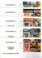 J.O  LILLEHAMMER 94 - FDC  -  MAURITANIE : 5 Mini-  BLOCS - Winter 1994: Lillehammer